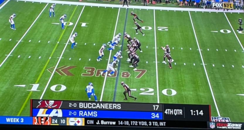 A NFL RedZone scorebug overlay on the NFL on Fox feed.