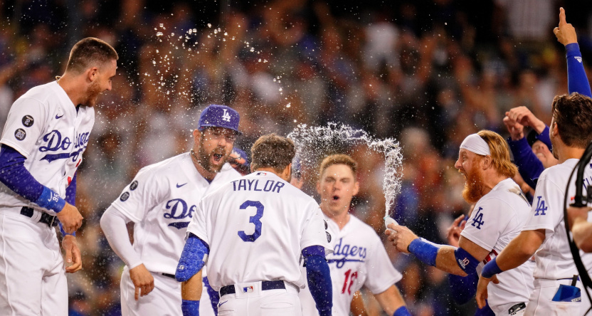 The Dodgers celebrating a Wild Card Game win.