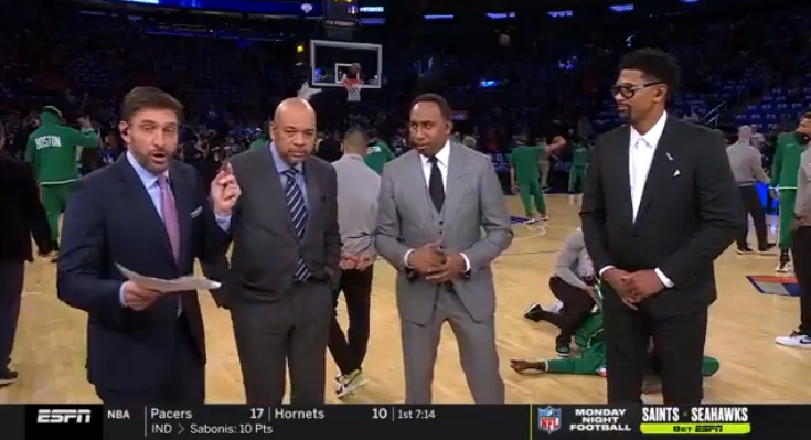 Mike Greenberg didn't realize ESPN's new NBA Countdown panel was still on the air until Stephen A. Smith chimed in