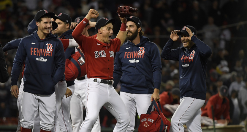 The Boston Red Sox celebrate a Wild Card win.