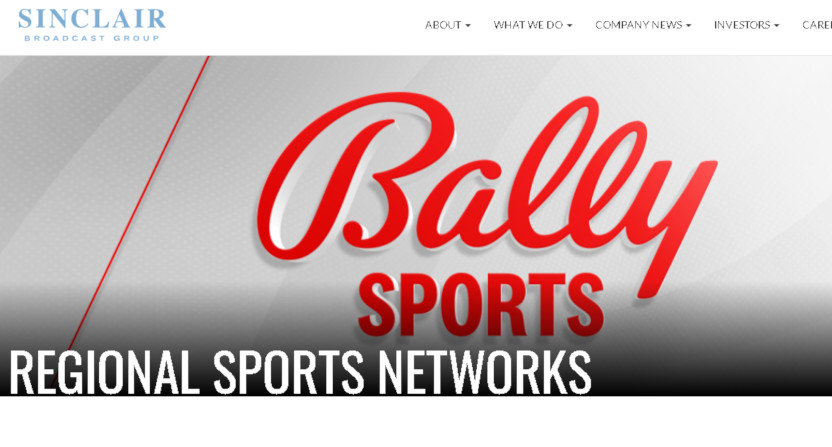 Sinclair's Bally Sports page.