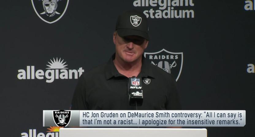 """Jon Gruden's """"I am not a racist"""" presser."""